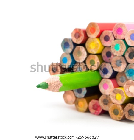 Color pencil on white background. - stock photo
