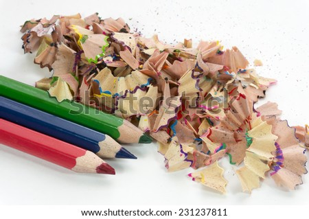 Color pencil shave macro with white background - stock photo