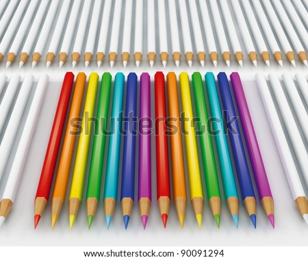 Color pencils and white pencils on a white background - stock photo