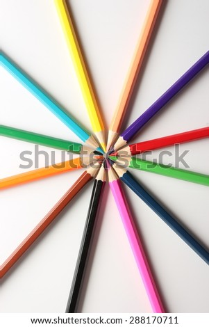 Color pencils are on the white background. - stock photo