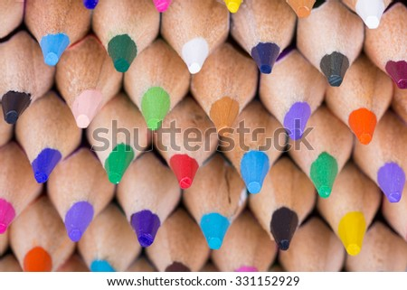 Color pencils background. close up of pencil color. colorful.rainbow. - stock photo