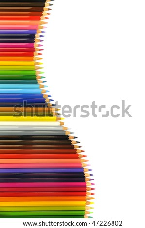 Color pencils background isolated in white - stock photo