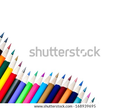 Color Pencils Background Isolated on White - stock photo