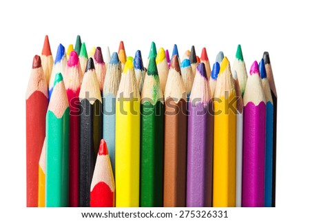 Color pencils close-up photo, isolated on white - stock photo
