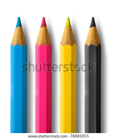 Color pencils cmyk four color process cyan magenta yellow black - stock photo
