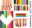 Color pencils collage - stock photo