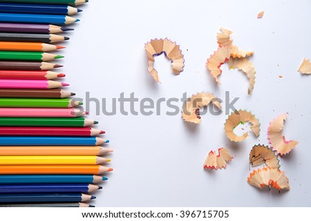 color pencils,Color pencil shaves  on a paper - stock photo