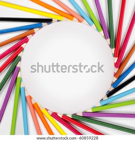 Color pencils Frame - stock photo