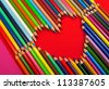 color pencils, heart - stock photo
