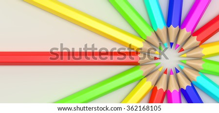 Color pencils in a row - stock photo