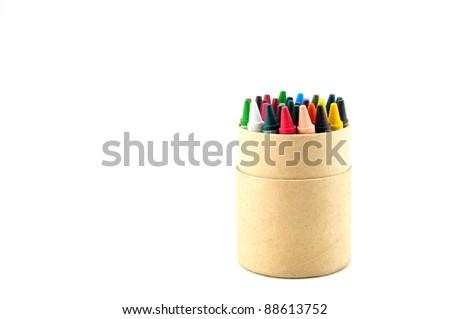 color pencils in cardboard box - stock photo