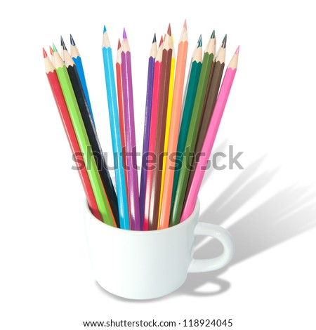 Color pencils in the cup isolated on white background close up - stock photo