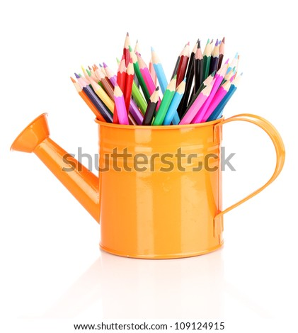 Color pencils in watering can isolated on white - stock photo