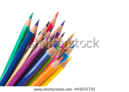 Color pencils isolated on a white background. - stock photo