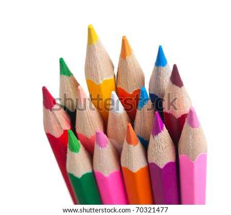 color pencils isolated on a white  background - stock photo