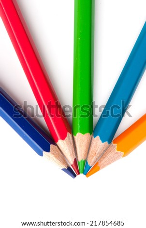 color pencils isolated on a white background. Studio. Picture. - stock photo