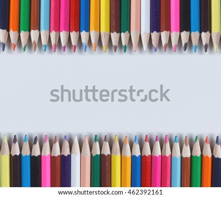 Color Pencils Isolated On White Background Close-up