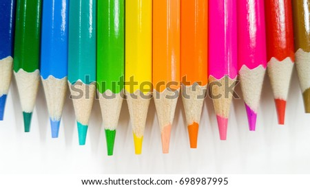 Color pencils isolated on white background.Close up.