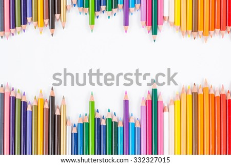 Color pencils isolated on white background close up  color pencils, color pencils with space for text, colorful colored pencils color pencils, color pencils with space for text, colorful colored - stock photo