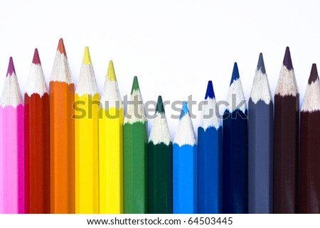 Color pencils isolated on white background. Colored pencil. - stock photo