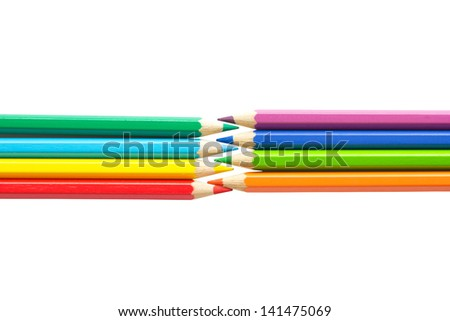 Color pencils isolated on white background. Large number of beautiful colored pencil drawing. Pencils of rainbow colors.