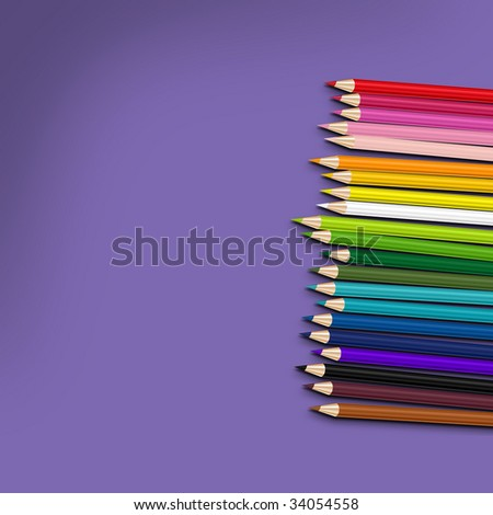 color pencils on violet background - stock photo