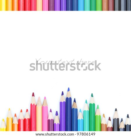 Color pencils on white background, as colorful border - stock photo