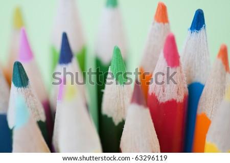 color pencils. small DOF - stock photo