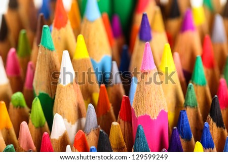 color pencils standing right up - stock photo
