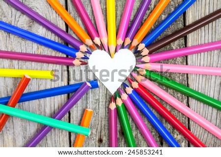 color pencils valentine bckground still life - stock photo
