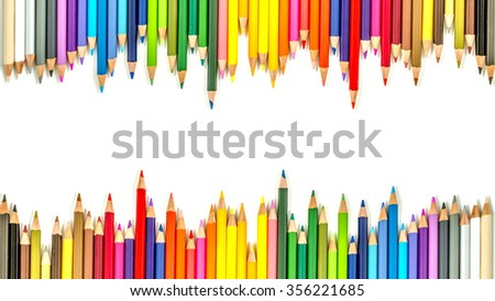 color pencils with white background, color pencils on top and bottom of a page, color pencils  background used for presentation. Many colorful colored pencils. Sharp tip color pencils - stock photo