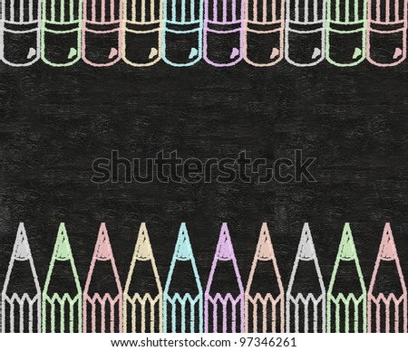 color pencils written on blackboard background
