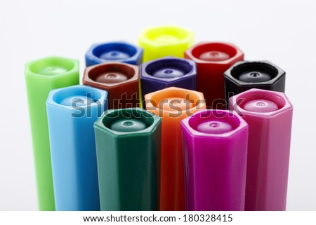 Color pens closeup - stock photo