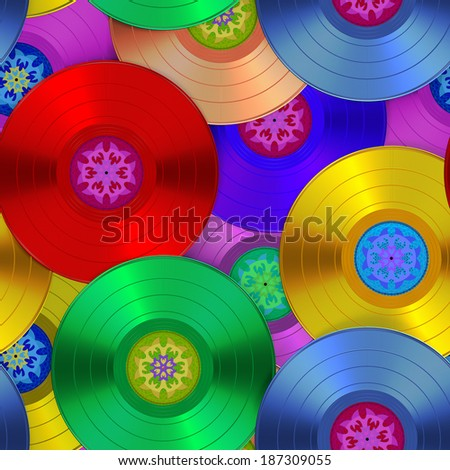 color phonograph records, seamless texture - stock photo