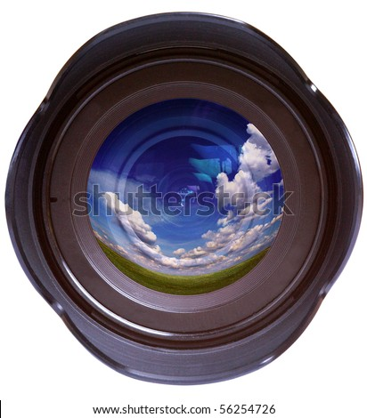 Color photo camera lens with reflected sky - stock photo