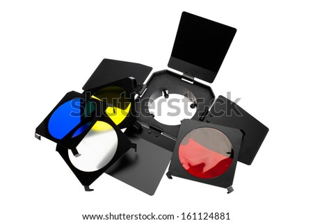 Color photo lighting equipment and filters isolated on white background  - stock photo