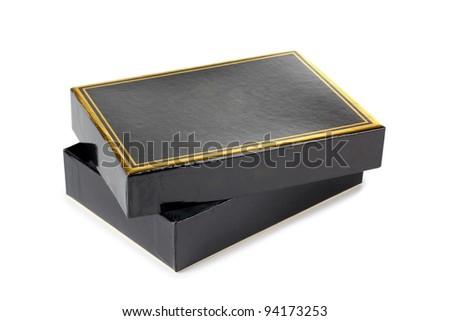 Color photo of a black cardboard box - stock photo