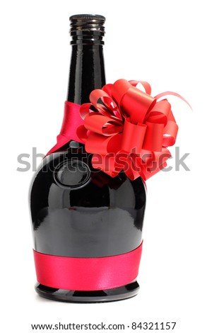 Color photo of a glass bottle with cocktail - stock photo