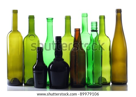 Color photo of a glass bottles with a white background - stock photo