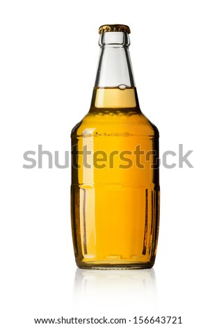 Color photo of a large beer bottle. With clipping path