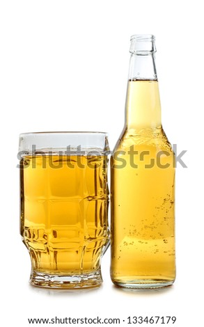 Color photo of a large beer mugs and bottle