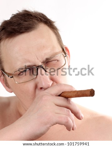 Color photo of a man whit cigar