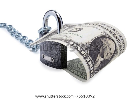 Color photo of a metal padlock and dollar - stock photo