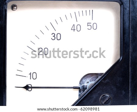 Color photo of a old black plastic ammeter - stock photo