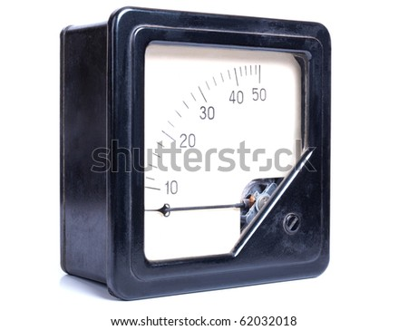 Color photo of a old black plastic ammeter on a white background - stock photo