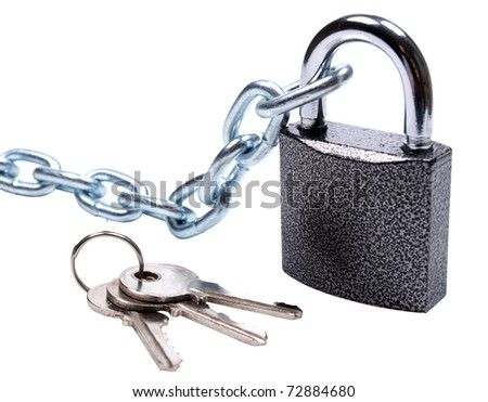 Color photo of a padlock with chain on white background - stock photo