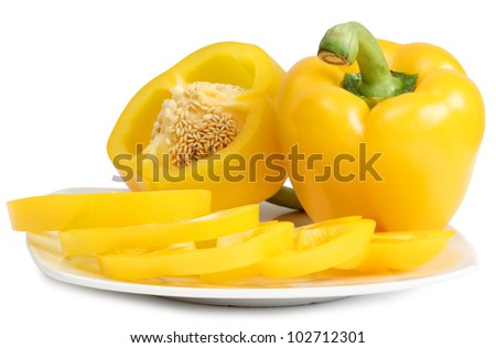 Color photo of a sweet yellow pepper
