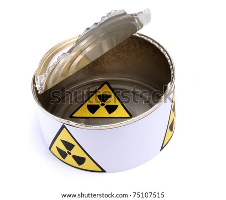 Color photo of a tin can with a sign of radiation - stock photo