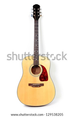 Color photo of an acoustic guitar on a white background - stock photo