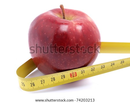 Color photo of an apple and tape measure